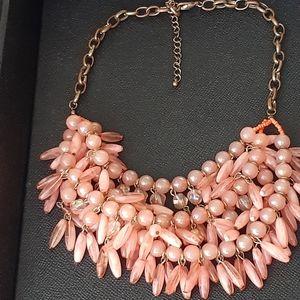 Vtg multi-strand coral/peach colored necklace
